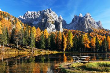 Foto auf Acrylglas Schwarz Autumn landscape in Cadini di Misurina, Dolomites, Italy, Europe