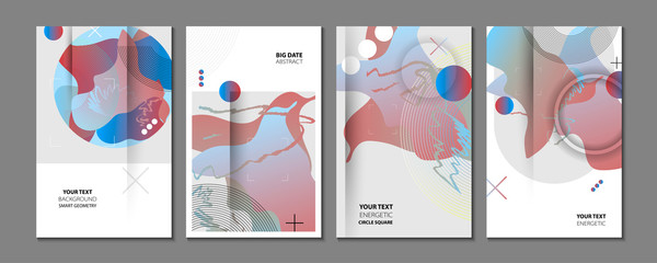Modern geometric trend abstract set. Gradient shapes composition, vector covers new design