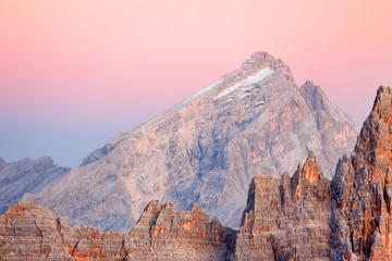 Foto auf Leinwand Rosa hell Sunrise light in the Dolomites, Italy, Europe