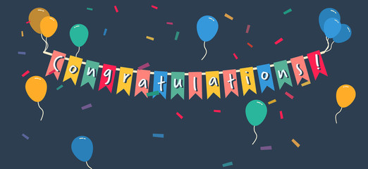 Congratulations banner garland with colorful balloons and confetti, simple flat vector illustration on dark background