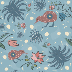 Seamless Floral Pattern with exotic kiwi bird. Hand Drawn. Vector Illustration