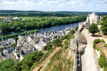 Foto auf AluDibond Olivgrun La ville de Chinon au bord de la Vienne vue depuis les remparts de la Cite Royale