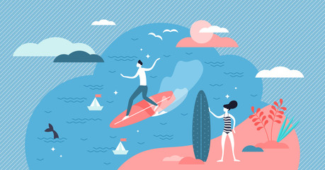 Surfing vector illustration. Flat tiny wave board activity persons concept.