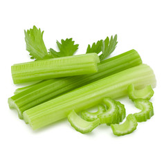Fototapete - Celery stalk bunch isolated om white background cut out.
