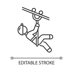Zip line linear icon. Canopy tour. Person with pulley on cable. Wire descend. Man sliding down rope. Thin line illustration. Contour symbol. Vector isolated outline drawing. Editable stroke