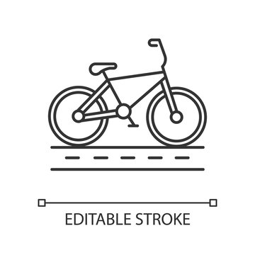 Track cycling linear icon. Bicycle on cycleway, bike path. Roadway for cyclists. Bicycle racing. City cruiser. Thin line illustration. Contour symbol. Vector isolated outline drawing. Editable stroke