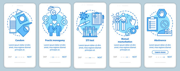 Safe sex onboarding mobile app page screen with linear concepts. Practic monogamy. Five walkthrough steps graphic instructions. Condom and abstinence. UX, UI, GUI vector template with illustrations