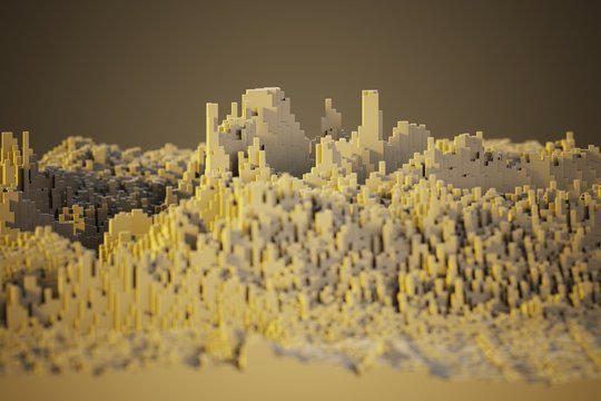 voxel mountains landscape computer generated illustration