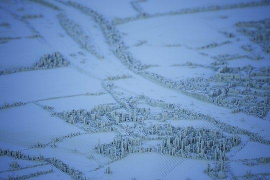cold winter voxel city landscape computer generated illustration