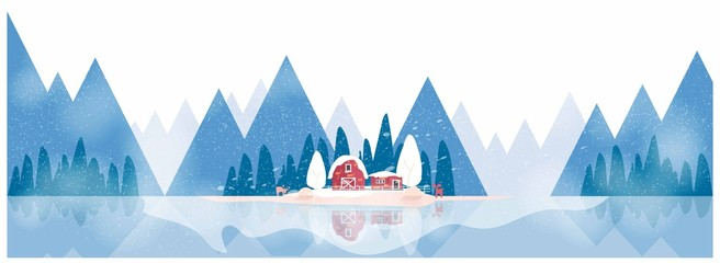 Minimal Panorama Vector illustration of Countryside landscape by the lake in winter  ,banner of farm house .The blue  mountains or hill with snow fall,barn and pumpkin,windmill,anti lope deer.