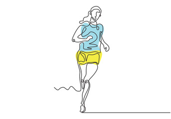 Continuous one drawn line silhouette of running athlete girl runner minimalism design with colors. Vector woman run on street during sport competition.