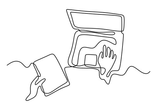 continuous line drawing of hands typing on laptop computer. Single one hand drawn minimalism concept business metaphor of writer, idea, and creative work.