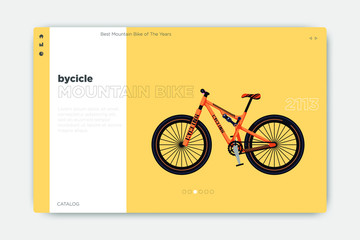 Cool landing page design with a bicycle image as a product, good typography, new style layout, can be used for websites, phones, banners, greeting cards and name cards