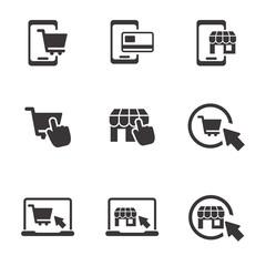 Set of e-commerce icon with simple black design. E-commerce icon