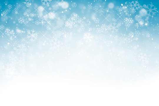 Winter background with snowflakes, stars and falling snow, abstract Christmas background with heavy snowfall, snowflakes in the sky