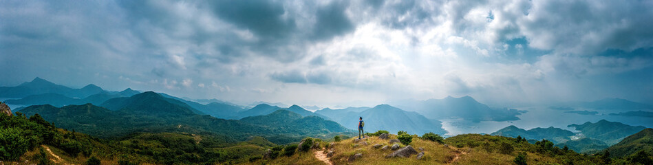 Panorama of Man hiking in mountain, Autumn, Sai Kung Fotomurales