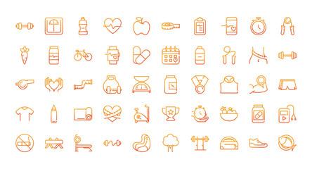 sport gym fitness icons set gradient line Fototapete