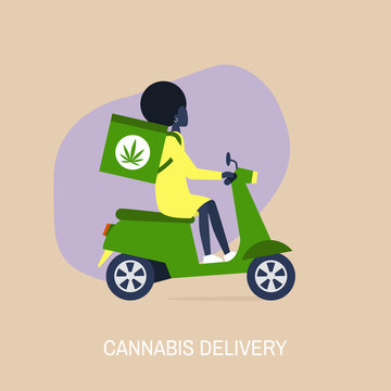 Cannabis delivery service, Young black female courier with a large backpack riding a motor bike