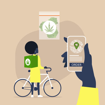 Mobile application for online cannabis delivery service, Young black female courier with a large backpack riding a bike