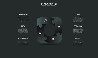 square black Infographic stack chart design with icons and options or steps. Infographics for business concept. Can be used for presentations banner, workflow layout, process diagram, flow chart