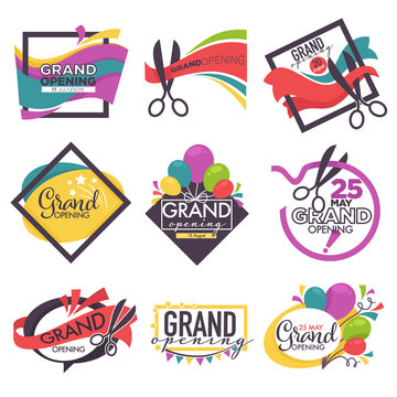 Grand opening isolated icons ribbon and scissors balloons and confetti