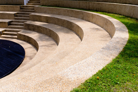 the steps of the outdoor grass seating in park view