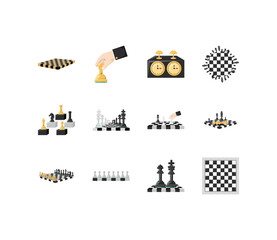 Variety chess icon set pack vector design