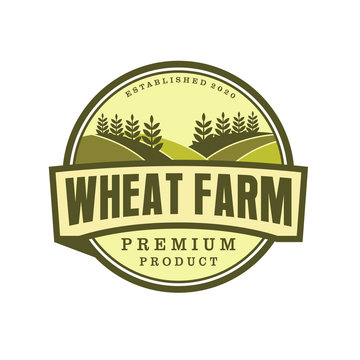 Wheat farm organic label logo badge design, farming farmer logo label product