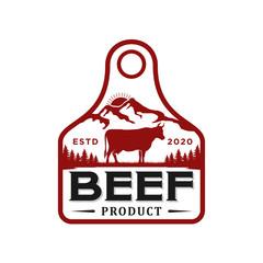 Cattle farm logo design - angus cow farm, butcher logo