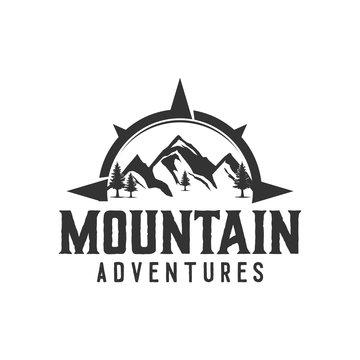 Outdoor rocky mountain nature logo - adventure wildlife pine tree forest design, hiking exploration nature, camping basecamp campfire alpine himalaya.