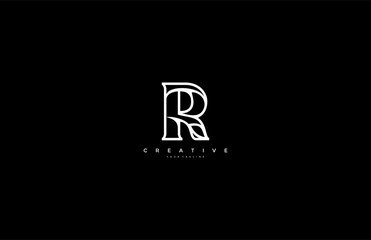 Letter R Abstract Minimalist Linear Modern Logotype