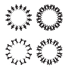 Set of circle frame of simple black silhouettes of rejoicing and dancing people. The object is separate from the background. Vector round template for infographics, cards, banners and your design.