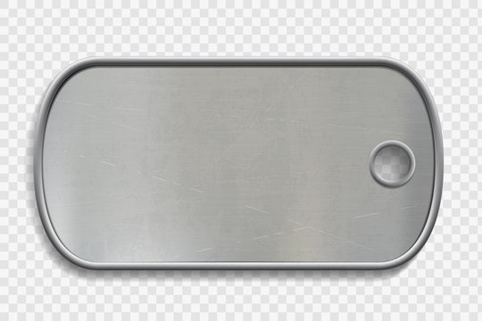 Blank Metal dog tag isolated on a transparent background