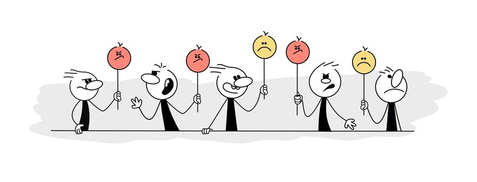 Doodle stick figure: Cartoon people holding smiley face symbol. Hand drawn vector illustration for business and school design.