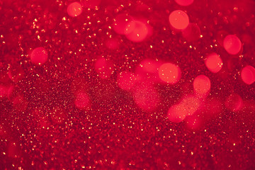 Abstract defocused circular red luxury gold glitter bokeh lights background. Fototapete