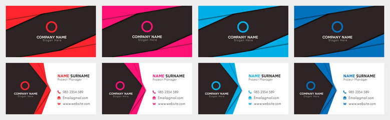 Set of Print-Ready Business Card Templates with Four Different Colors