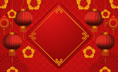 chinese new year. hanging red lantern. flower ornament papercut