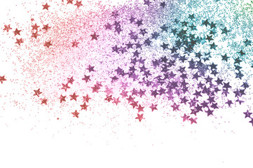 Blurry background with blue and pink glitter and glittering stars sparkle on white
