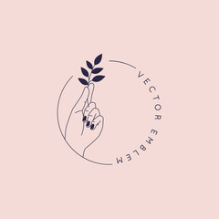 Vector abstract logo and branding design template in trendy linear minimal style - hand holding leaf- concept for natural beauty