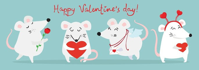 Vector illustration card with cute cartoon little Valentine mouse or rat in love with heart
