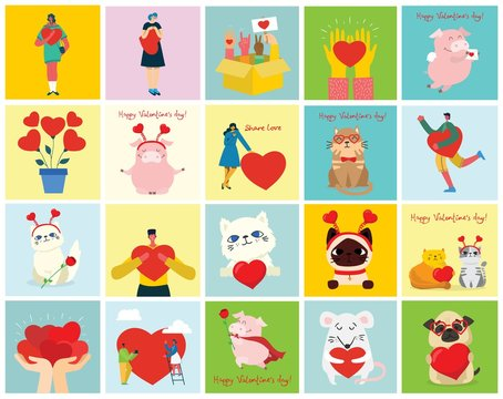 Share your Love. Animals and people with hearts as love massages. Vector illustration for Valentine's day in the modern flat style