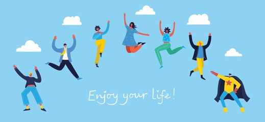 Concept of young people jumping on blue background. Stylish modern vector illustration card with happy female and male teenagers and hand drawing quote Enjoy your life Wall mural