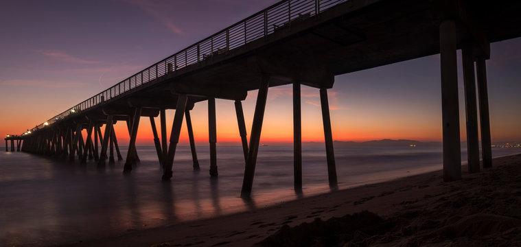 Beautiful Ocean Sunset Panorama Long Exposure at the Hermosa Beach Pier in South Bay, Los Angeles, California