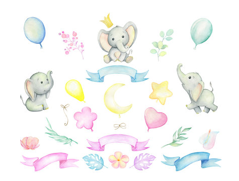 Little elephants, tropical plants, balloons, ribbons. Watercolor set. Set on isolated background. For children's cards and invitations.