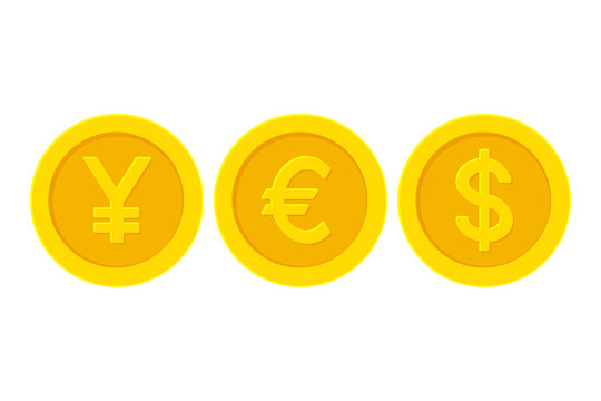 Word yes with yellow golden coins currency symbols. Yen, Euro, Dollar