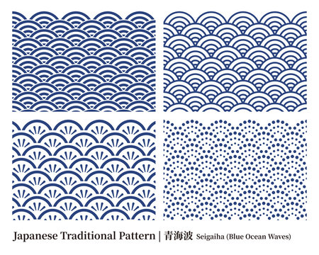 和柄|青海波セット  Seigaiha (Blue Ocean Waves)