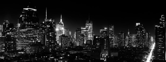 Panoramic night view of Midtown Manhattan and Hell's Kitchen, black and white