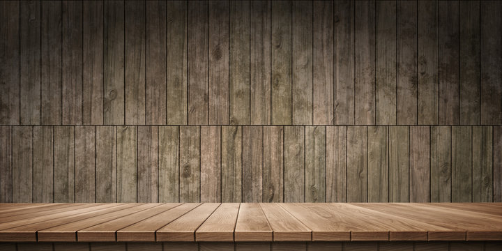 Colorful wooden platform background: wood wall.  ( 3D rendering computer digitally generated illustration.)
