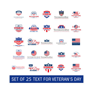 Set of 25 design Vector template with text for veteran's day