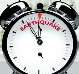 Earthquake soon, almost there, in short time - a clock symbolizes a reminder that Earthquake is near, will happen and finish quickly in a little while, 3d illustration